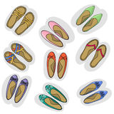 Παπούτσια ετικετών Διάνυσμα παπουτσιών Παπούτσια γυναικών Στοκ εικόνα με δικαίωμα ελεύθερης χρήσης
