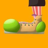 Παπούτσια και πράσινα πάνινα παπούτσια ποδιών Απεικόνιση αποθεμάτων