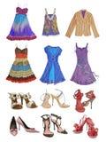 Παπούτσια και φόρεμα μόδας συλλογής Στοκ Φωτογραφίες
