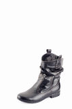 Παπούτσια μαύρων γυναικών με τα καφετιά νήματα στη ραφή Στοκ Εικόνες