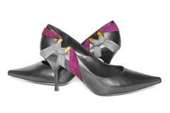 Παπούτσια μαύρων γυναικών Στοκ Εικόνες