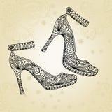 παπούτσια μόδας ανασκόπησ&e Στοκ Εικόνες