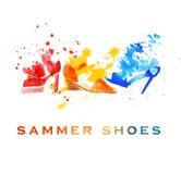 Παπούτσια μόδας Watercolor Στοκ Φωτογραφίες