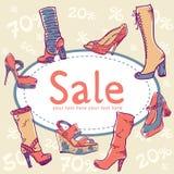 παπούτσια πώλησης έκπτωσης καρτών Στοκ Εικόνες