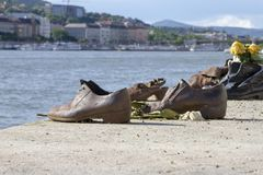 Παπούτσια στο Δούναβη Βουδαπέστη Ουγγαρία στοκ εικόνες