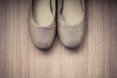 Παπούτσια ShoesWomens σε ένα ξύλινο υπόβαθρο Στοκ Εικόνες