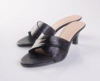 παπούτσι ή μαύρα γυναικεία παπούτσια χρώματος σε ένα υπόβαθρο Στοκ Εικόνες