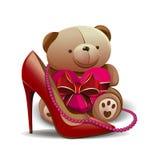 Παπούτσι γυναικών, ρόδινες χάντρες, teddy αρκούδα με μια κόκκινη καρδιά Στοιχεία σχεδίου για τα γενέθλια, στις 8 Μαρτίου, ημέρα μ Στοκ φωτογραφία με δικαίωμα ελεύθερης χρήσης