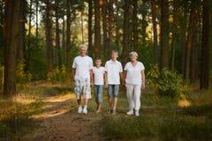 Παππούδες και γιαγιάδες και εγγονοί στο δάσος στοκ φωτογραφίες με δικαίωμα ελεύθερης χρήσης