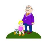 Παππούς και εγγονός απεικόνιση αποθεμάτων