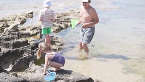 Παππούς με τα εγγόνια που παίζουν στην παραλία θαλασσίως απόθεμα βίντεο