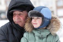 Παππούς με τον εγγονό Στοκ Εικόνες