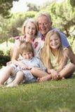 Παππούδες και γιαγιάδες και εγγόνια που κάθονται στο πάρκο από κοινού Στοκ Φωτογραφία