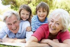 Παππούδες και γιαγιάδες και εγγόνια στο πάρκο από κοινού Στοκ Εικόνες