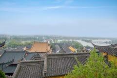 Παράβλεψη του ναού Jinshan σε Zhenjiang, Jiangsu Στοκ Φωτογραφία