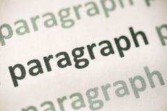 Παράγραφος λέξης που τυπώνεται στη μακροεντολή εγγράφου στοκ εικόνες
