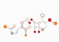 Παράδειγμα του χημικού τύπου που αντιπροσωπεύεται με τους κύκλους, Πεντάγωνα και hegagons του πορτοκαλιού και γκρίζου χρώματος πο Στοκ φωτογραφία με δικαίωμα ελεύθερης χρήσης