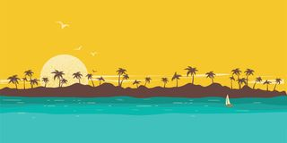 παράδεισος νησιών τροπικός Seascape υπόβαθρο με τη σκιαγραφία και τον ουρανό φοινικών διανυσματική απεικόνιση
