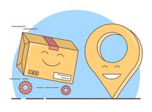 Παράδοση δώρων, συσκευασμένα κιβώτιο και σύμβολο geolocation ελεύθερη απεικόνιση δικαιώματος