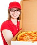 παράδοση της πίτσας κοριτσιών στοκ εικόνα με δικαίωμα ελεύθερης χρήσης