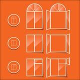Παράθυρα, εικονίδιο σε ένα πορτοκαλί υπόβαθρο Στοκ Εικόνες