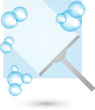 Παράθυρα και καθαριστές παραθύρων, καθαρισμός και καθαρίζοντας λογότυπο επιχείρησης διανυσματική απεικόνιση