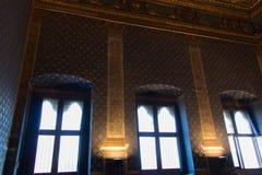 Παράθυρα στο dei Gigli Sala σε Palazzo Vecchio, Φλωρεντία, Τοσκάνη, Ιταλία Στοκ Φωτογραφίες