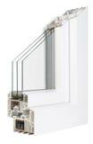 Παράθυρα σχεδιαγράμματος PVC με την τριπλή τοποθέτηση υαλοπινάκων Στοκ Φωτογραφία