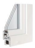 Παράθυρα σχεδιαγράμματος PVC με την τριπλή τοποθέτηση υαλοπινάκων Στοκ Φωτογραφίες