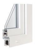 Παράθυρα σχεδιαγράμματος PVC με την τριπλή τοποθέτηση υαλοπινάκων Στοκ Εικόνες