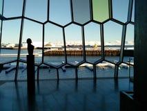 Παράθυρα σύγχρονος του Ρέικιαβικ, Ισλανδία που χρωματίζεται Στοκ εικόνες με δικαίωμα ελεύθερης χρήσης