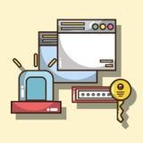 Παράθυρα τεχνολογίας με το συναγερμό και τον κωδικό πρόσβασης με το κλειδί απεικόνιση αποθεμάτων