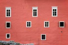Παράθυρα του κάστρου Cervena Lhota, Δημοκρατία της Τσεχίας Στοκ Φωτογραφίες