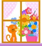 Παράθυρο, γάτα και λουλούδι Στοκ Εικόνες