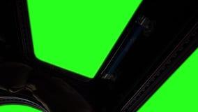 Παράθυρο Διεθνών Διαστημικών Σταθμών Iss με την πράσινη οθόνη απεικόνιση αποθεμάτων