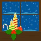παράθυρο κεριών Στοκ Φωτογραφία