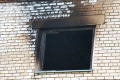 Παράθυρο μετά από την πυρκαγιά στοκ εικόνες με δικαίωμα ελεύθερης χρήσης