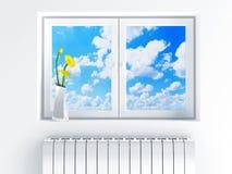 Παράθυρο με το νεφελώδη ουρανό Στοκ Εικόνες