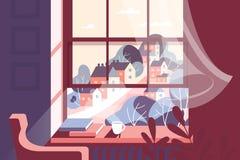 Παράθυρο με το φλυτζάνι του ζεστών ποτού και των βιβλίων στο windowsill στο κλίμα της πόλης διανυσματική απεικόνιση