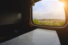 Παράθυρο στο τραίνο από το εσωτερικό Στοκ Εικόνα