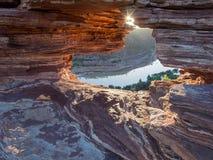 Παράθυρο φύσης ` s στην ανατολή, εθνικό πάρκο Kalbarri, δυτική Αυστραλία Στοκ φωτογραφία με δικαίωμα ελεύθερης χρήσης