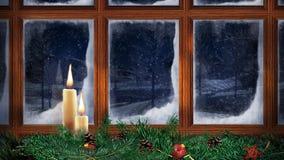 Παράθυρο Χριστουγέννων που χιονίζει έξω από 4K το βρόχο φιλμ μικρού μήκους