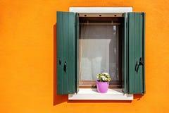 Παράθυρο Horisontal με το λουλούδι Στοκ φωτογραφία με δικαίωμα ελεύθερης χρήσης