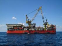 Παράκτια πλατφόρμα κατασκευής για το πετρέλαιο παραγωγής και φυσικό αέριο, το έλαιο και τη βιομηχανία φυσικού αερίου και τη σκληρ Στοκ Εικόνα