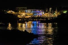 Παράκτια σκηνή νύχτας Galapagos στα νησιά, Ισημερινός Στοκ Φωτογραφίες