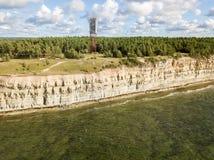 Παράκτιοι απότομος βράχος και φάρος Panga Panga pank, νησί Saaremaa, κοντά σε Kuressaare, Εσθονία Βορράς-εσθονικός γκρεμός ασβεστ στοκ εικόνες με δικαίωμα ελεύθερης χρήσης