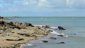 Παράκτιος στατικός πυροβολισμός τοπίων στο νησί Noirmoutier απόθεμα βίντεο