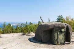 Παράκτιο πυροβολικό Σουηδία Ψυχρών Πολέμων Στοκ φωτογραφίες με δικαίωμα ελεύθερης χρήσης