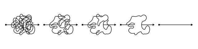 Παράφρων ακατάστατη μαύρη γραμμή, περίπλοκος τρόπος κουβαριών Απλούστευση της σύγχυσης Μπλεγμένη πορεία κακογραφίας Χαοτικός δύσκ διανυσματική απεικόνιση
