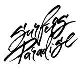 Παράδεισος Surfers Σύγχρονη εγγραφή χεριών καλλιγραφίας για την τυπωμένη ύλη Serigraphy απεικόνιση αποθεμάτων